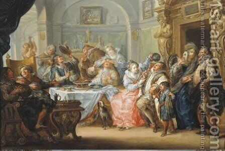 Interior With Elegant Figures In Masquerade Costume Feasting by Johann Georg Platzer - Reproduction Oil Painting