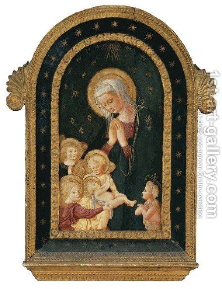 The Madonna and Child with the Infant Saint John the Baptist and adoring Angels by (after) Pier Francesco Fiorentino - Reproduction Oil Painting