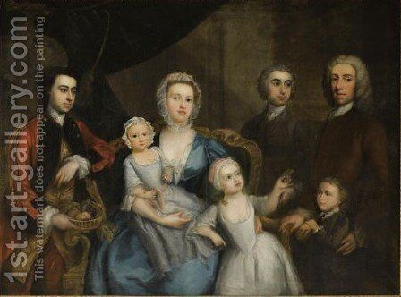 Portrait Of A Family In An Interior by Charles Phillips - Reproduction Oil Painting