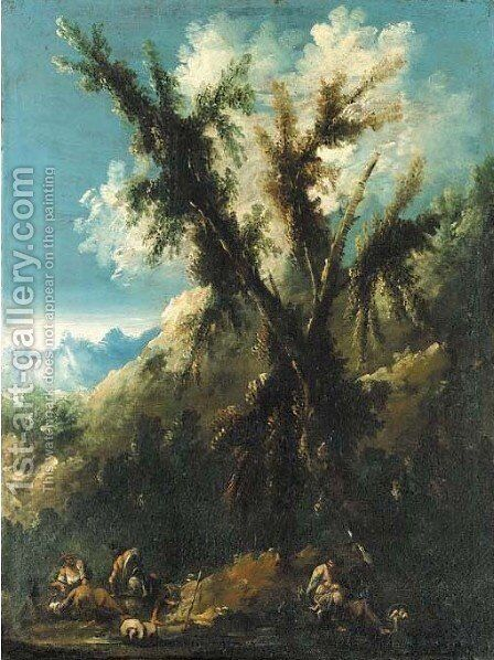 A mountainous landscape with figures by a tree by Antonio Francesco Peruzzini - Reproduction Oil Painting