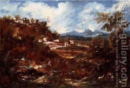 A capriccio with figures in a landscape 2 by Antonio Francesco Peruzzini - Reproduction Oil Painting
