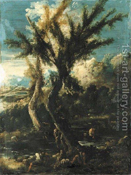 A wooded river landscape with figures resting by Antonio Francesco Peruzzini - Reproduction Oil Painting