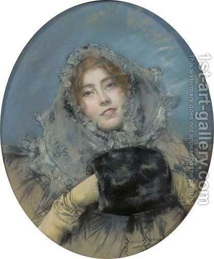 Portrait of an elegant lady dressed for winter by Clemens von Pausinger - Reproduction Oil Painting