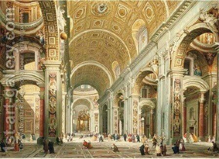 Interior of Saint Peter's, Rome by Giovanni Paolo Panini - Reproduction Oil Painting
