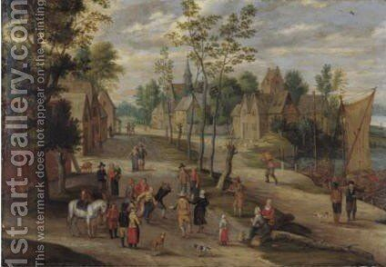 Landscape With A Village Dance by Isaak van Oosten - Reproduction Oil Painting