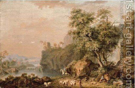 A rocky river landscape with travellers and a shepherd on a path by Balthasar Paul Ommeganck - Reproduction Oil Painting