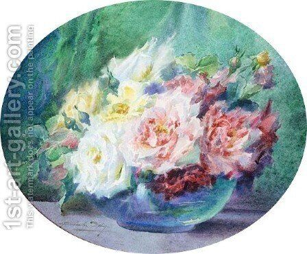 Roses In A Glass Bowl by Blanche Odin - Reproduction Oil Painting
