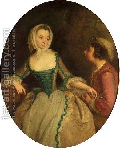 Portrait Of A Young Lady, And A Young Boy Holding A Bird's Nest by (after) Pesne, Antoine - Reproduction Oil Painting