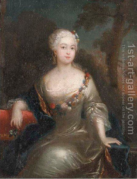 Portrait of a lady by (after) Pesne, Antoine - Reproduction Oil Painting