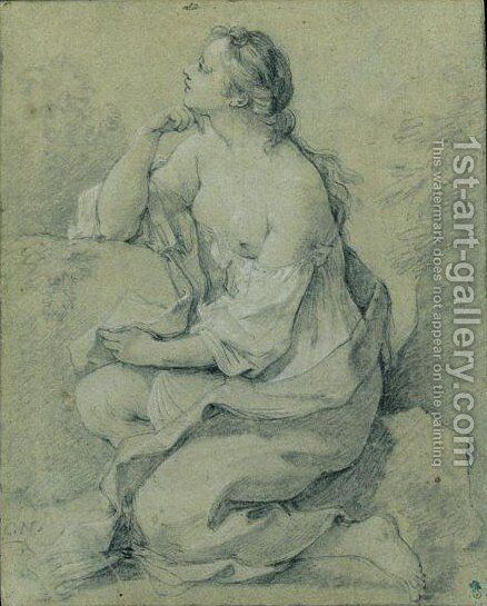 Study Of A Partly Draped Female Figure, Seated Amongst Rocks by Charles Joseph Natoire - Reproduction Oil Painting