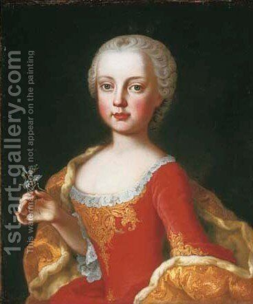 Portrait of the daughters of the Empress Maria Theresa of Austria, Maria Christine (1742-1798) by Martin II Mytens or Meytens - Reproduction Oil Painting