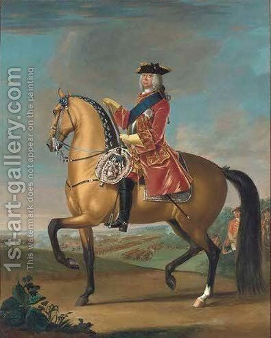 Equestrian portrait of King George II (1683-1770) by David Morier - Reproduction Oil Painting