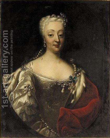 Portrait Of Queen Sophie Magdalena Of Denmark (1700-1770) by Andreas Moller - Reproduction Oil Painting