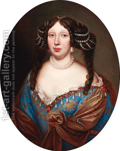 Portrait of Magdalena Sibilla Herzogin von Wurttenberg (1652-1712) by (after) Mignard, Pierre II - Reproduction Oil Painting