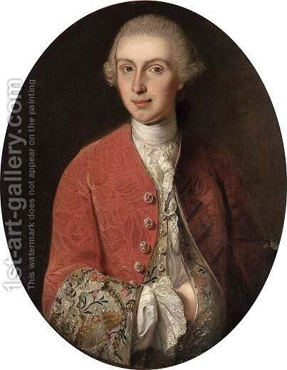 Portrait of a gentleman, half-length, in wig and red embroidered coat by (after) Mercier, Philippe - Reproduction Oil Painting