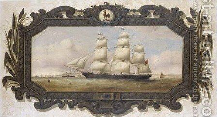 A Belfast colonial clipper, possibly the Slieve Donard, approaching Liverpool by Duncan Mcfarlane - Reproduction Oil Painting
