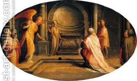 The Angel Gabriel Appearing To Zacharias by da San Friano Maso - Reproduction Oil Painting