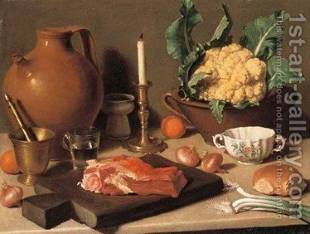 Meat on a chopping-board, a mortar, a glass of water, an earthenware pitcher, a candlestick, a cauliflower in a tureen with oranges, onions, spring-on by Carlo Magini - Reproduction Oil Painting