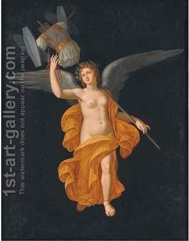 A winged female figure crowned with laurels carrying a trophy by Michelangelo Maestri - Reproduction Oil Painting