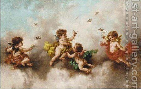 Putti disporting in the clouds 2 by Charles Augustus Henry Lutyens - Reproduction Oil Painting