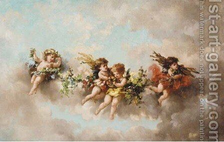 Putti disporting in the clouds 3 by Charles Augustus Henry Lutyens - Reproduction Oil Painting
