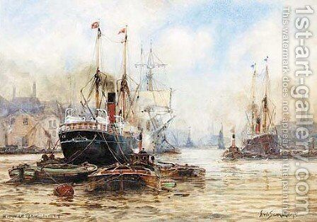 View a harbour with steamships a town beyond by Albert Jnr. Ludovici - Reproduction Oil Painting