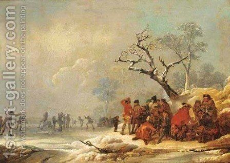 A winter morning with a skating party by (after) Loutherbourg, Philippe de - Reproduction Oil Painting