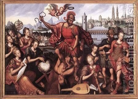 Mars Vanquishing Ignorance 1605 by Antoon Claeissens - Reproduction Oil Painting