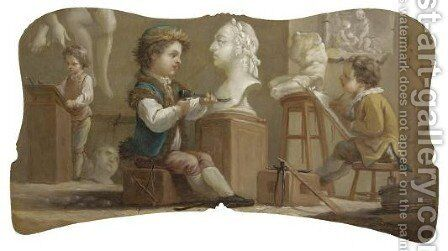 An Allegory Of Sculpture by (after) Loo, Carle van - Reproduction Oil Painting