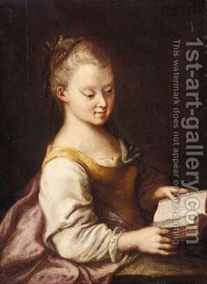 Portrait Of A Young Girl, Half Length, Reading A Book And Wearing A Yellow And Pink Dress by (after) Longhi, Pietro - Reproduction Oil Painting