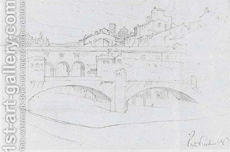 Ponte Vecchio by (attr. to) Leighton, Frederic - Reproduction Oil Painting
