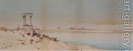 Ruins On The Nile by Augustus Osborne Lamplough - Reproduction Oil Painting