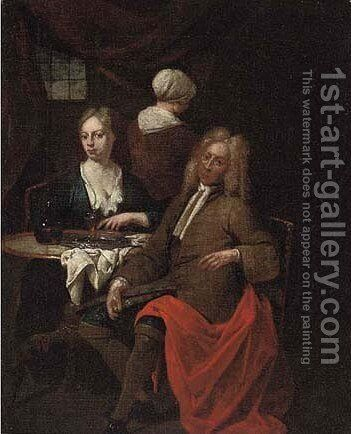 An elegant couple and a servant in an interior with wine on a table by Jan Baptist Lambrechts - Reproduction Oil Painting