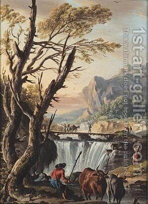 A River Landscape With A Drover Watering His Cattle Before A Bridge by Charles Francois Lacroix de Marseille - Reproduction Oil Painting