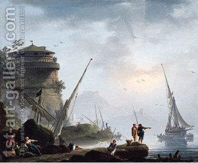 A Mediterranean port with fishermen and orientals on the shore, a by Charles Francois Lacroix de Marseille - Reproduction Oil Painting