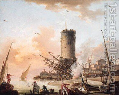 A Mediterranean coast with fisherfolk on the shore, a tower and shipping beyond by Charles Francois Lacroix de Marseille - Reproduction Oil Painting