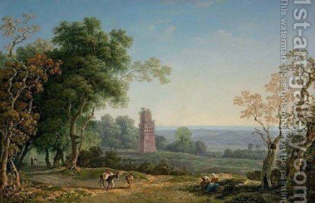 An Italianate landscape with peasants on a path, an ancient mausoleum beyond by Carlo Labruzzi - Reproduction Oil Painting