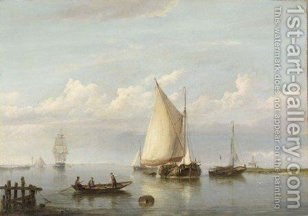 Shipping In An Estuary by Hermanus Koekkoek - Reproduction Oil Painting