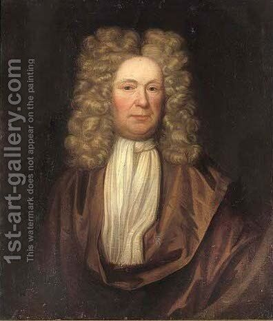 Portrait of a gentleman, quarter-length, in a brown coat and white tie, in a feigned oval by (after) Kneller, Sir Godfrey - Reproduction Oil Painting