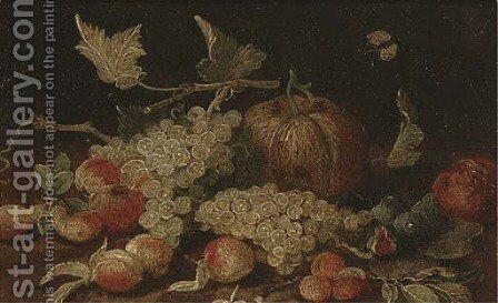 Grapes, peaches, figs, apricots and a pumpkin on a wooden ledge, with a Cabbage White butterfly by (attr. to) Kessel, Jan van - Reproduction Oil Painting