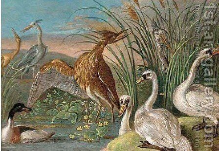 Swans, herons, a crane, a bitten and a mallard by a river by (attr. to) Kessel, Jan van - Reproduction Oil Painting
