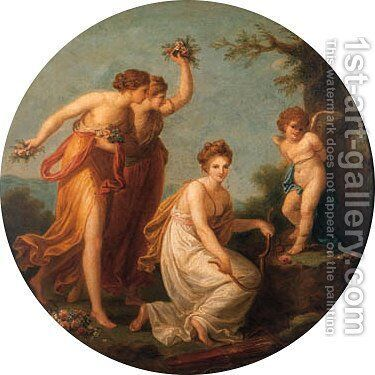 The disarming of Cupid 2 by (after) Kauffmann, Angelica - Reproduction Oil Painting