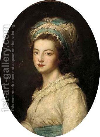 Portrait of a lady, bust-length, in a white dress and bonnet by (after) Kauffmann, Angelica - Reproduction Oil Painting