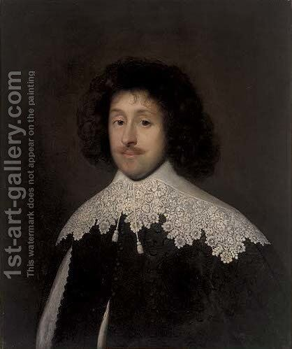 Portrait of a gentleman, traditionally identified as Sir William Campion by Cornelis I Johnson - Reproduction Oil Painting