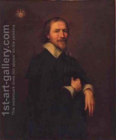 Portrait of a gentleman, three-quarter-length, in a black coat and white shirt by (after) Johnson, Cornelius I - Reproduction Oil Painting