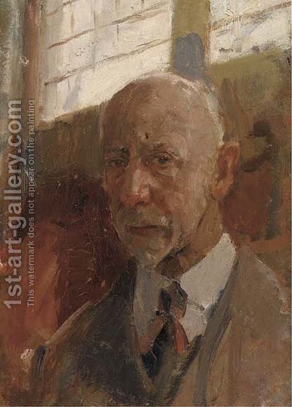 A selfportrait in the artist's studio by Isaac Israels - Reproduction Oil Painting