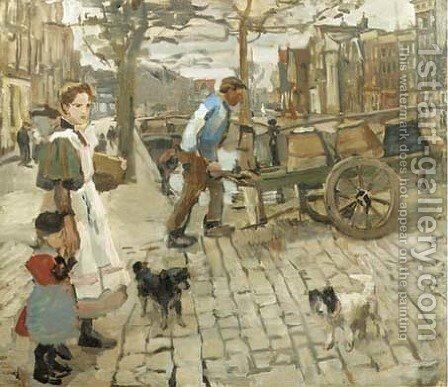 A busy morning on a canal bridge, Amsterdam by Isaac Israels - Reproduction Oil Painting
