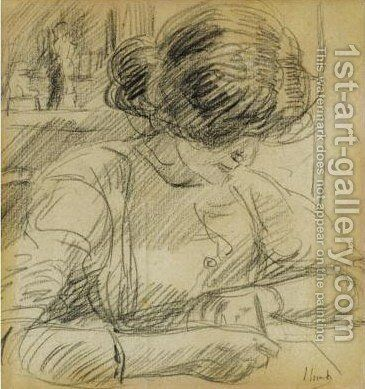 Sophie De Vries Writing A Letter by Isaac Israels - Reproduction Oil Painting