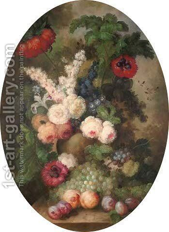 Peonies, delphiniums, stock, with grapes and peaches to the side by (after) Huysum, Jan van - Reproduction Oil Painting