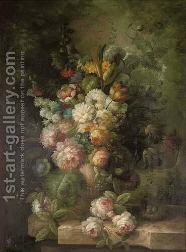 Poppies,tulips and other flowers on a stone hedge by (after) Huysum, Jan van - Reproduction Oil Painting